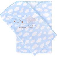 Cobertor Minasrey Bordado Com Caixa Alvinha Azul - Kanui