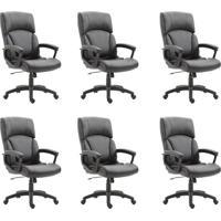 Conjunto Com 6 Cadeiras De Escritório Presidente Otho Preto