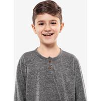 Camiseta Henley Cinza Manga Longa Niños 500059