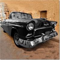 Quadro Impressão Digital Carro Preto 45X45 Uniart