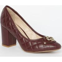 Sapato Tradicional Em Couro Matelass㪠- Vinho- Saltocapodarte