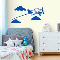 Adesivo De Parede Avião Nuvens
