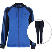 Agasalho Com Capuz Adidas Refocus - Feminino - Azul/Azul Esc
