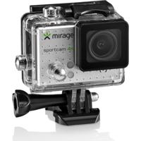 Câmera De Ação Sport 4K, Tela De Lcd 2 Sport 16Mp + Cartão 16Gb Prata Mirage - Mr3001