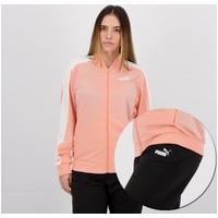 Agasalho Puma Tricot Suit Cl Feminino Coral E Preto