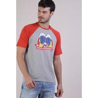 Camiseta Masculina Duff Beer Os Simpsons Raglan Manga Curta Gola Careca Cinza Mescla