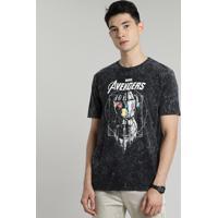 Camiseta Masculina Manopla Do Infinito Os Vingadores Marmorizada Manga Curta Gola Careca Preta