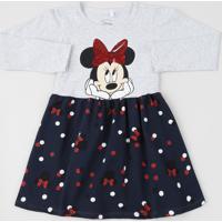Vestido Infantil Minnie Estampado De Poá Manga Longa Cinza