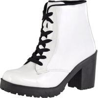 Bota Cano Curto Salto Médio Sapatofranca Ankle Boot Com Cadarço Branco