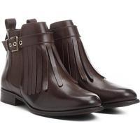 Bota Couro Cano Curto Shoestock Franjas Feminina - Feminino-Marrom