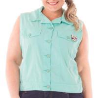 Colete Acinturado Pedraria Plus Size Feminina - Feminino-Verde