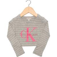 Blusa Calvin Klein Kids Listras Cinza
