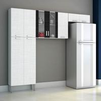 Cozinha Compacta Alfa Top 9 Portas Braco Com Branco Com Linho Kit'S Paraná