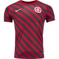 Camiseta Internacional Top Nike 19 Masc - Cinza Esc/Vermelho