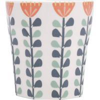 Vaso Em Cerã¢Mica Floral- Branco & Azul Marinho- 11Xã˜Urban