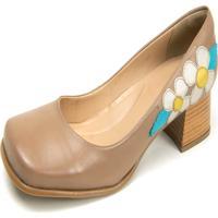 Sapato Boneca Em Couro Miuzzi Taupe/Branco