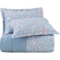 Conjunto De Colcha Essence Floral Casal- Azul Claro & Azaltenburg