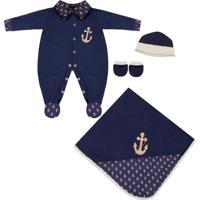 Saída Maternidade Padroeira Baby Marinheiro Luxo Azul Marinho