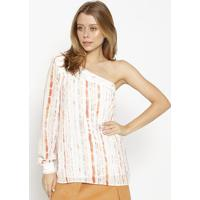 Blusa Ombro ÚNico - Off White & Laranja- M. Officerm. Officer