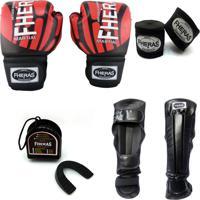Kit Boxe Muay Thai Fheras Top - Luva Bandagem Bucal Caneleira - 14 Oz Elite Vermelho