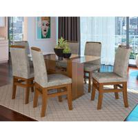 Conjunto De Mesa Com 6 Cadeiras Keid Suede Canela