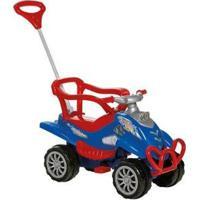 Carrinho De Passeio Infantil Pedal Cross Turbo Com Empurrador Emite Sons - Unissex-Azul+Vermelho