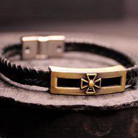 Bracelete Estilo Ráfia Xangai Couro Preto