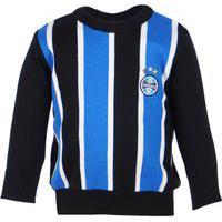 Blusa Suéter Para Bebê Tricolor Grêmio Azul Preto E Branco Oficial