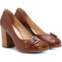 Peep Toe Couro Shoestock Salto Grosso Vegetal Fivela - Feminino