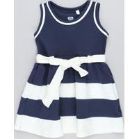 a4d0981daa00c CEA  Vestido Infantil Com Recortes E Laço Azul Marinho