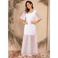 Vestido Longo Branco Mangas Curtas Amplas