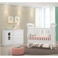 Quarto De Bebê Cômoda Amore 1 Porta E Berço Colonial Branco - Qmovi