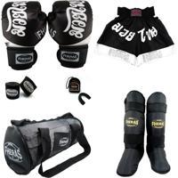 Kit Muay Thai Top - Luva Bandagem Bucal Bolsa Caneleira Shorts - 14 Oz Tailândes Preta