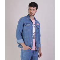 Jaqueta Jeans Masculina Nasa Trucker Com Bolsos Manga Longa Azul