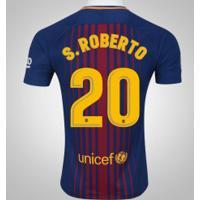 Camisa Do Barcelona I 17/18 Nº 20 Sergi Roberto - Masculina - Azul Escuro