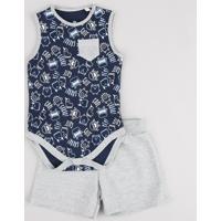 Conjunto Infantil De Body Estampado De Monstrinhos Sem Manga Azul Marinho + Bermuda Em Moletom Cinza Mescla