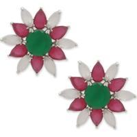 Brinco Flor Com Zircônias Verde E Rosa Pink E Banho Em Prata