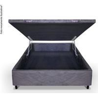 Cama Box Baú Casal 138X188X45 - Sued Cinza