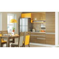 Cozinha Modulada Compacta Com 4 Módulos Raquel Rustic/Amarelo - Glamy