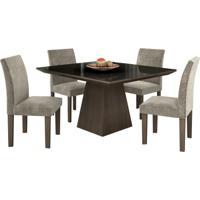 Conjunto De Mesa Pietra 0.90M Com Vidro Serigrafado Preto Com 4 Cadeiras Granda Chocolate Tecido Veludo Pena Bege Lj Móveis