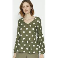 Blusa Com Franzidos & Recortes - Verde & Branca- Moimoisele
