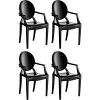 Conjunto Com 4 Cadeiras De Plástico Wind Preto