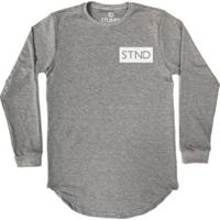 Camiseta Longline Stoned Manga Longa Logo Box Masculina - Masculino-Cinza