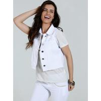 Colete Feminino Jeans Strass Tachas Marisa