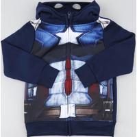 Blusão Infantil Capitão América Em Moletom Com Capuz Azul Marinho
