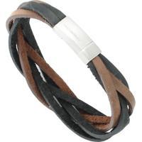 Bracelete Tudo Joias De Couro Rosso Trançado Fecho Aço Inox - Unissex-Marrom