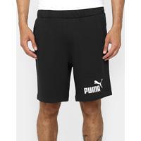 "Bermuda Moletom Puma Ess No.1 Logo Sweat 9"" Reta Masculina - Masculino"