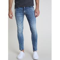 Calça Jeans Masculina Skinny Com Puídos E Bolsos Azul Médio