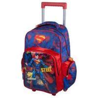 Mochila Com Rodas Infantil Superman Ic32912Sm Azul Grande