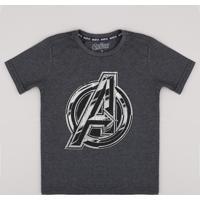 Camiseta Infantil Os Vingadores Manga Curta Cinza Mescla Escuro